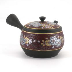 Tokuraame-kutani teapot SAKURA, red