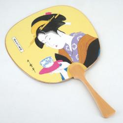 Small non-folding japanese fan uchiwa, OCHA BIJIN, tea beauty
