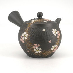 Japanese tokoname kyusu teapot, SAKURA, black, gold and white flowers