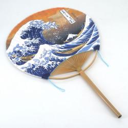 non folding japanese fan uchiwa, NAMI, wave