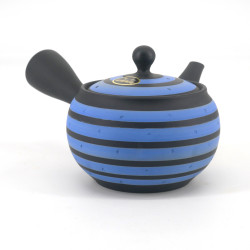 Japanese tokoname teapot, RASEN, gray and blue spiral