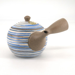 Japanese tokoname teapot, RASEN, beige, blue and white spiral