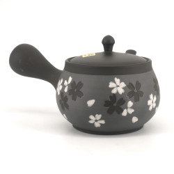 Japanese tokoname teapot, SAKURA, gray, gray and white flowers