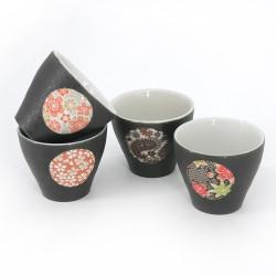 japanese black 4 cups set with circle YUZEN