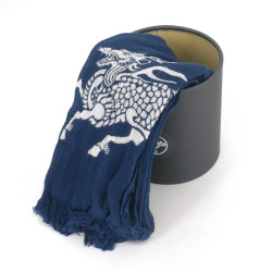 Cotton scarf, COTTON SCARF QILIN, Kirin blue
