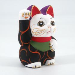 Japanese manekineko lucky cat, KURO KARAKUSA, black and arabesques