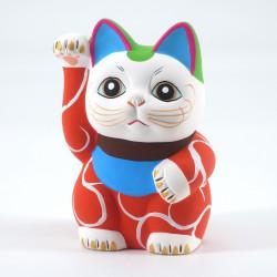 Japanese manekineko lucky cat, AKA KARAKUSA, red and arabesques