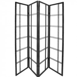 japanese screen made of wood and paper, DOUBLE CROIX, Black