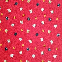 Red Japanese cotton fabric matsu patterns flowers butterflies made in Japan width 112 cm x 1m