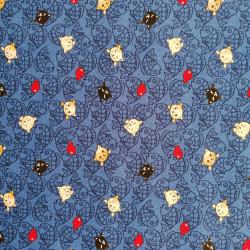 Tessuto di cotone blu giapponese, motivi NEKO Doku e pesci