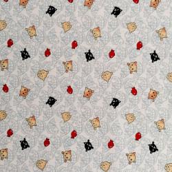 Tessuto di cotone bianco giapponese, motivi NEKO Doku e pesci