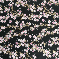 Japanese black cotton fabric, sakura patterns, cherry blossoms
