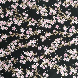 Tessuto giapponese di cotone nero, motivi sakura, fiori di ciliegio