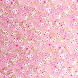 Tessuto giapponese di cotone rosa, motivi sakura, fiori di ciliegio