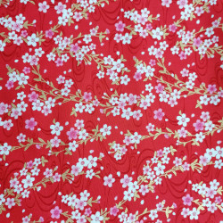 Japanese red cotton fabric, sakura patterns, cherry blossoms