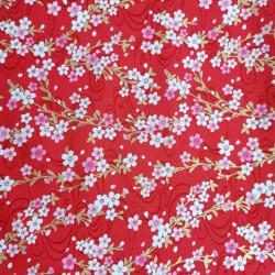 Tessuto di cotone rosso giapponese, motivi sakura, fiori di ciliegio