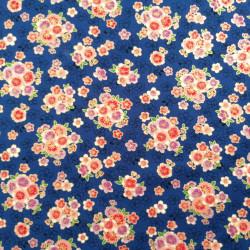 Tessuto di cotone blu giapponese, motivi sakura, fiori di ciliegio