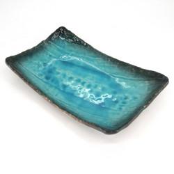 Japanese blue rectangular ceramic plate - AOI