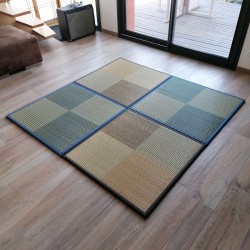 japanese straw black or beige square mat carpet IBUKI