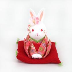 Ornamento di coniglio in ceramica bianca, HANAUSAGI OJIGI, kimono rosso