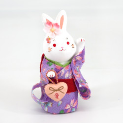 White ceramic rabbit ornament, HANAUSAGI AI, purple kimono