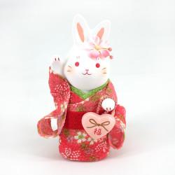 White ceramic rabbit ornament, HANAUSAGI FUKU, pink kimono