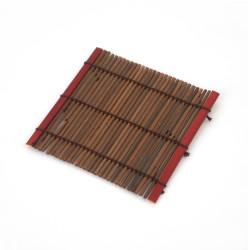Piccolo sottobicchiere in bambù scuro, SOME, rosso
