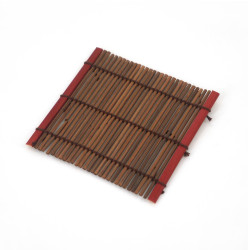 Small dark bamboo coaster, SOME, red