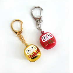 Japanese metallic bell key ring, DARUMA
