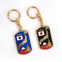 Japanese metallic keychain, TOKYO TOWER NI FUJI, map of Japan