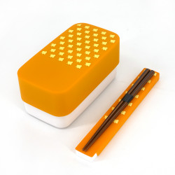 Japanese rectangular bento lunch box, YAMABUKI NAMICHIDORI, yellow + chopsticks