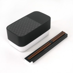 Japanese rectangular bento lunch box, SEIGAIHA, black + chopsticks