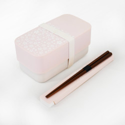 Japanese rectangular bento lunch box, SAKURA, pink + chopsticks