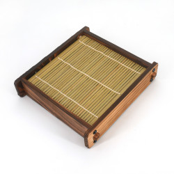 Wooden plate for Japanese noodles, ZARU, bamboo mat