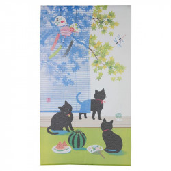 Japanese noren polyester curtain, SUDARE KURONEKO