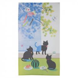Rideau japonais noren en polyester, SUDARE KURONEKO