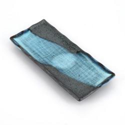 Japanese blue plate rectangular ceramic BURU