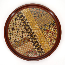 vassoio rotondo, YOSEGI, tradizionale intarsio Hakone