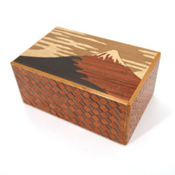 Hakone Yosegi Traditional Marquetry Secret Box, 21 steps FUJI TSUBAKI