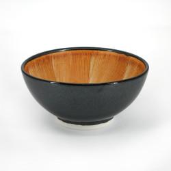 Japanese suribachi ceramic bowl, black, KURO MAT