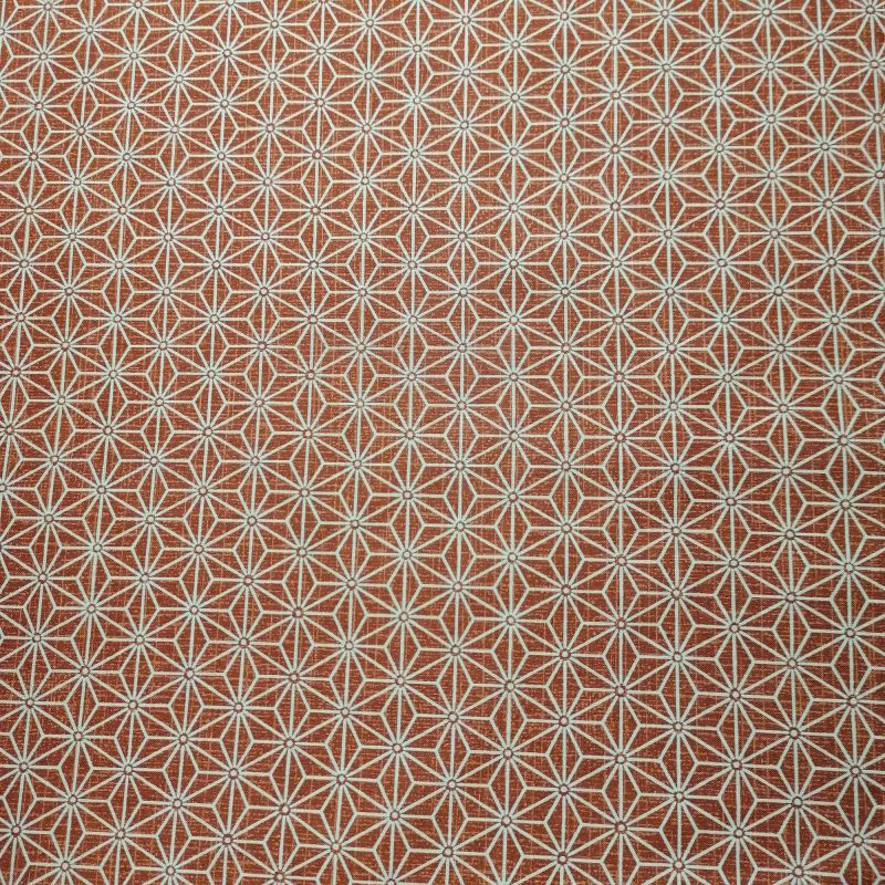 Japanese red cotton fabric with asanoha pattern, ASANOHA, made in Japan width 112 cm x 1m