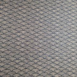 Tessuto giapponese in cotone blu con motivo a onde, SEIGAIHA, realizzato in Giappone larghezza 112 cm x 1m