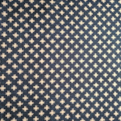 Tessuto giapponese in cotone blu con motivo a pozzetto, IGETA, realizzato in Giappone larghezza 112 cm x 1m