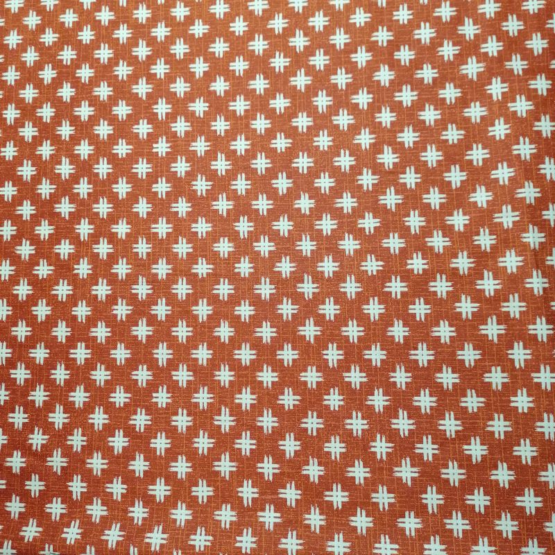 Japanese red cotton fabric with well motif, IGETA, made in Japan width 112 cm x 1m