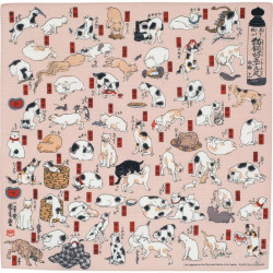 Japanese Furoshiki, NEKO TOKAIDO, The 53 Stations of Pink Tokaido