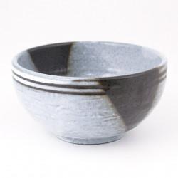 ciotola di zuppa giapponese in ceramica, UMI, blu