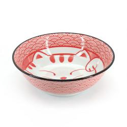 Ciotola di ramen in ceramica giapponese - AO MANEKINEKO - motivo di gatto