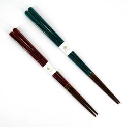 Pair of Japanese chopsticks in natural wood - WAKASA NURI UMI