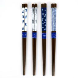 Set di 4 bacchette giapponesi in legno naturale - INDIGO