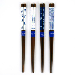 Set of 4 Japanese chopsticks in natural wood - INDIGO